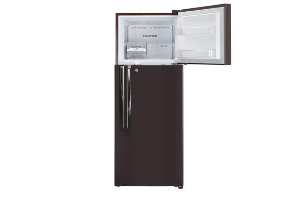 GL-T302RRS3-Refrigerators-Front-View-Top-Door-Open-Without-Content-DZ-05